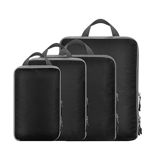 Compression Packing Cubes Dual Sided, Travel Luggage Packing Set Extensible Organizer Bags Suitcase Organization Water Repellent 4 Set