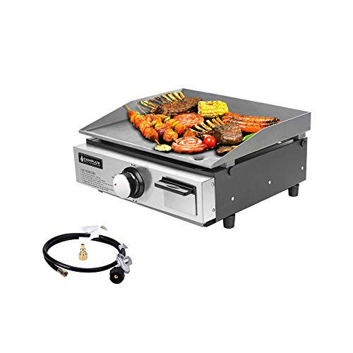 Camplux Propane Gas Griddle Grill, 15,000 BTU Griddle Combo, Outdoor Portable Tabletop Griddle Station 17 Inches with 20 lb and RV Regulator, for Camping, Traveling and Picnicking