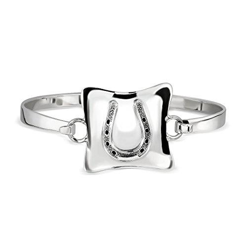 WithLoveSilver de plata de ley herradura de cóncava cuadrado brazalete pulsera
