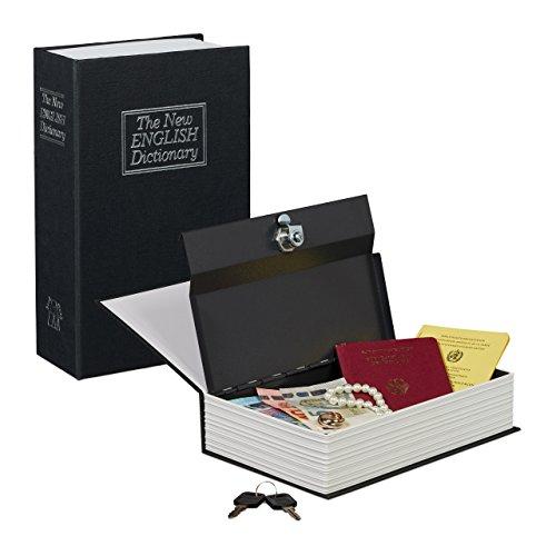 Relaxdays Libro cassaforte, Cassetta Sicurezza Rivestita Acciaio, 2 Chiavi, HxLxP: 24x15,5x5,5 cm, Diversi Colori Disponibili