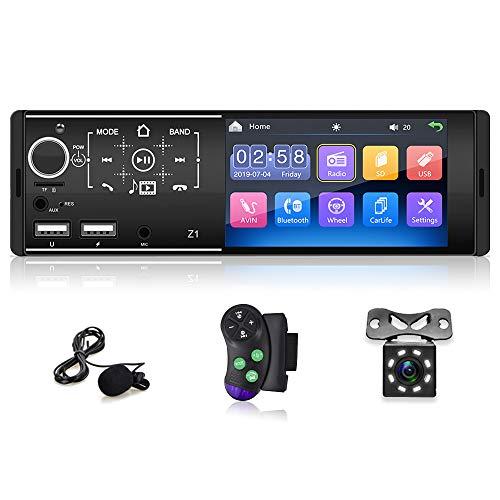 Radio Coche Bluetooth, Radio Coche de 1 DIN con Pantalla Táctil FM/Enlace Espejo/Tarjeta USB/TF/Entrada Auxiliar, Soporte de Autoradio Controles del Volante Remoter + Cámara de Visión Trasera