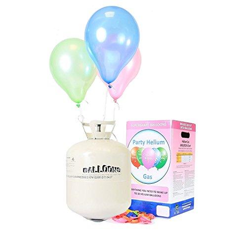 Helium Ballongas XXL Heliumbehälter für bis zu 50 Ballons - Party Set inkl. 50 Luftballons & 5 Trendario LED Ballons