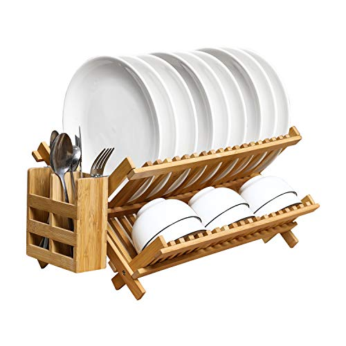 PENGKE Dish Rack, Bamboo Folding 2-Tier Collapsible Drainer Dish Drying Rack With Utensils Flatware Holder Set (1 Dish Rack With Utensil Holder for Kitchen)
