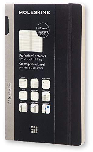 Moleskine Pro Notebook Professionelles Arbeitsnotizbuch (Soft Cover mit Elastischem Verschluss, Großformat 13 x 21 cm, 192 Seiten) schwarz
