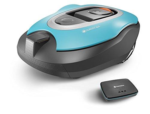 Gardena smart Sileno Set: Mähroboter mit Vernetzung für Rasenflächen bis 1000 qm, steuerbar per SmartPhone und App, Steigungen bis zu 35{5c3d276cc1c2e0faf83b5e2a31681ad83d68d8e5a5fc235e071a06cfa3e8175a}, geräuscharm mit 60 dB(A), inkl. smart Gateway (19060-60)