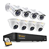 1080p 8 Channel Video Surveillance Camera Kit, 8CH 2MP H.265+ Surveillance DVR with 1TB Hard Drive, Email Alert, IP66 Weatherproof Camera, 20M Night Vision, Remote Access