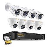 Anlapus 1080P CCTV Kit Sistema de Vigilancia 8CH H.265+ Grabador DVR con 8 Cámara de Seguridad (4) Domo y (4) Bullet, 1TB Disco Duro, Visión Nocturna, Detección de Movimiento, P2P