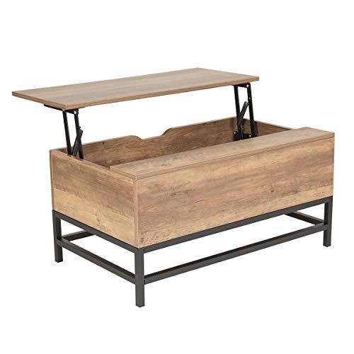 Wonderhome Couchtisch Hubtisch mit Stauraum für Wohnzimmer und Büro (Dunkelbraun)