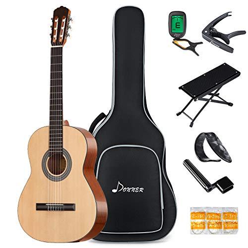 Donner Klassische Akustik Gitarre 4/4 Anfänger Erwachsene Akustikgitarre Nylonsaiten Klassisch Konzertgitarre Gitarren 39 Zoll mit Tasche Capo Plektren Fußhocker(Natur)