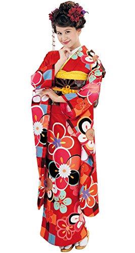 (アッシュ エル) HL 成人式 結婚式 振袖着物4点セット 絵羽 (着物/袋帯/伊達衿/襦袢) (23×帯:E(伊達衿:緑))