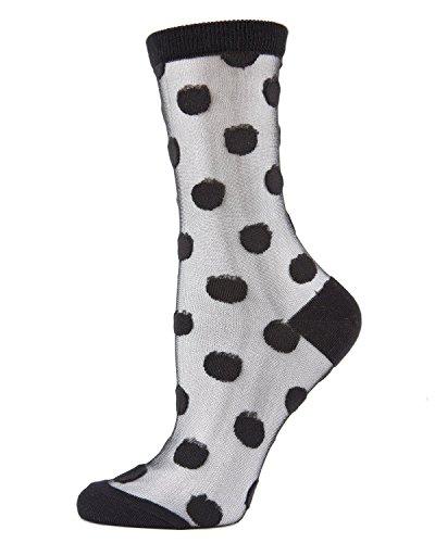 MeMoi Polka Dot Sheer Ankle Sock | Women's Fashion Socks Black One Size -  MCF06837
