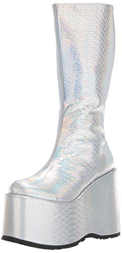 Ellie Shoes Women's 500-AMARA Fashion Boot, Silver Hologram, 8 M US