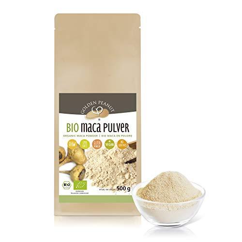 Bio Maca Pulver 500 g | Echte Macawurzel, gemahlen | Premiumqualität | Powerwurzel |ohne Zusätze | glutenfrei | vegan | Golden Peanut