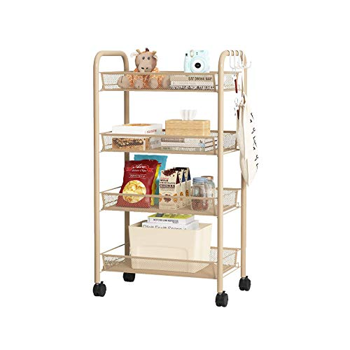 ACCSTORE 4Tier Storage Trolley Utility Cart on Wheels with Metal Mesh Basket Organization with 4 Hooks for Office Kitchen Bedroom Bathroom Laundry Room,Beige