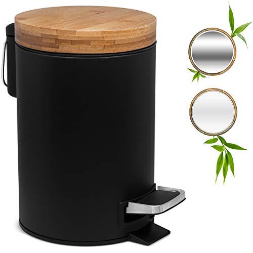 Kazai. 3L Poubelle Design pour Salle de Bain | Couvercle en Bambou avec Fermeture Douce | Poubelle à pédale avec bac Amovible, Anti-Traces et pédale Confort | Noir
