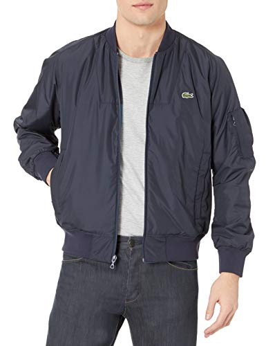 Lacoste Men's Reversible Colorblock Taffeta Bomber Jacket, Dark Navy Blue/Dark Navy Blue-Legion Blue-Corrida, M