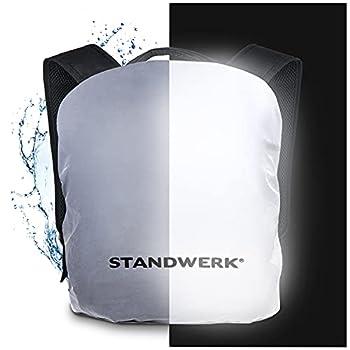 STANDWERK® - Housse de pluie entièrement réfléchissante pour sac à dos | Housse de sac à dos avec poche et fixation | Housse de pluie pour cartables et sacs à dos 20-35L (20-35L)