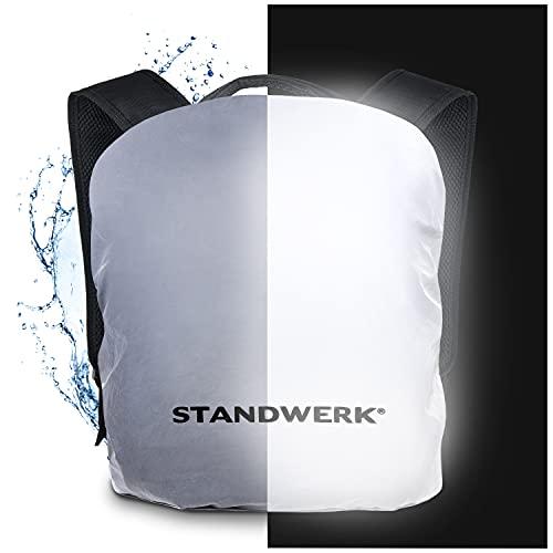 STANDWERK® - Vollreflektierender Regenschutz für Rucksäcke | Rucksacküberzug inkl. Tasche und Befestigung | Regenhülle für Kinder Schulranzen und Rucksäcke 20-35L