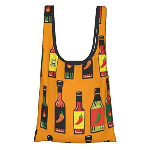 Bolsas de compras reutilizables Botellas de salsa caliente Botellas de arte Alimentos y Bebidas Respetuoso del medio ambiente plegable bolsa de almacenamiento bolsa