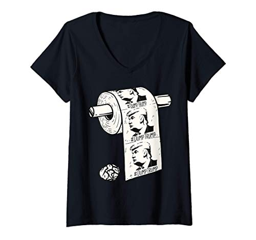 Womens Dump Trump President Election Toilet Paper Shortage Gift V-Neck T-Shirt