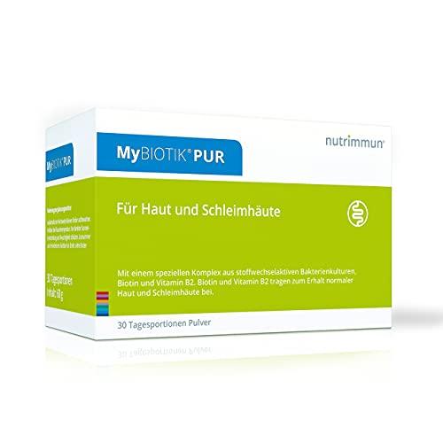 nutrimmun MyBIOTIK® PUR (30 x 2 g) Pulver – Nahrungsergänzungsmittel mit einem speziellen Komplex aus stoffwechselaktiven Bakterienkulturen, Biotin und Vitamin B2 – Für Haut und Schleimhäute