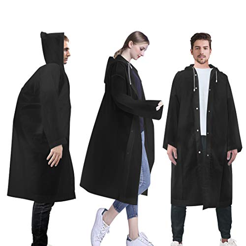 LAMA Poncho Impermeabile, [3Pacchi] Adulti Eva Riutilizzabile Giacca da Pioggia Unisex Impermeabile Rainwear Emergenza Poncho con Cappuccio per Uomini e Donne