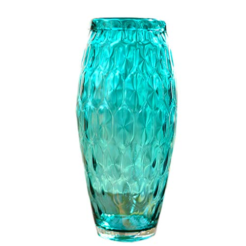 Jarrones Vidrio hidropónico Azul Hecho a Mano Wave Point Flores para el hogar Flor Artificial Flor Arreglo Contenedor UOMUN (Size : C)