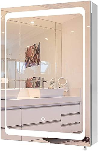 Armario Baño con Espejo con Luz LED Armario de Pared Armario Colgante Acero Inoxidable con 1 Puerta 2 Compartimentos 50x13x72cm