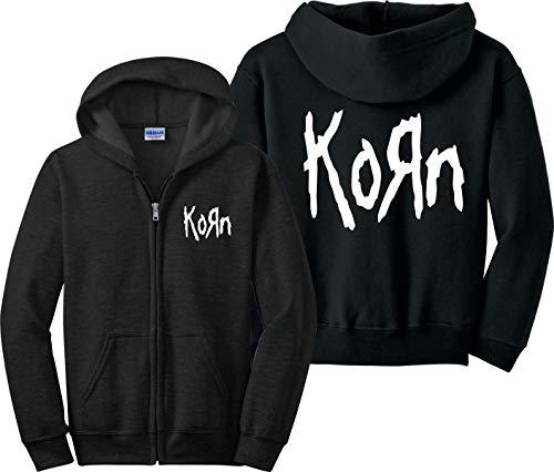 Korn Zip Up Hoodie Metal Rock Nirvana Slipknot Misfits Zipper Sweatshirt Black