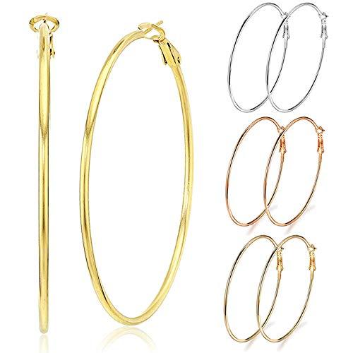 3 Pairs Big Hoop Earrings, Stainless Steel Hoop Earrings in Gold Plated Rose Gold Plated Silver for Women Girls (70mm)