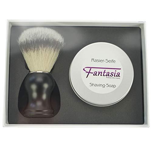Fantasia geschenkdoos met synthetische scheerpenseel + scheerzeep 100 g in aluminium doos