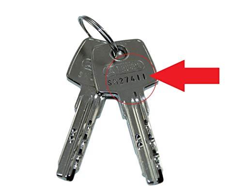 ABUS Nachschlüssel | Ersatzschlüssel nach Code für vorhandene ABUS Profilzylinder der Serie EC 550, Schließungsnummer von SM00001 bis SM30000 lieferbar, Original ABUS Rohlinge