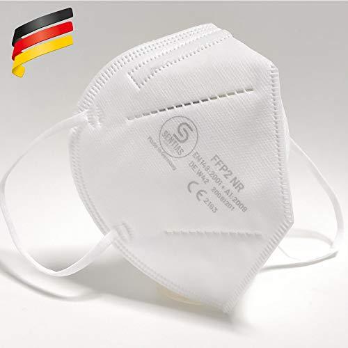 FFP2 Maske in Deutschland hergestellt - Zertifizierte Schutzmaske mit 98% Filterwirkung – EN 149 geprüft, 4-lagig, kein KN95-10 x 1 Stück