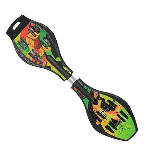 Klassisches Skateboard Caster Board - Radikal intensive Beschleunigung Waveboard mit 360 Grad Caster Trucks und Anti Slip Concaved Geeignet für Anfänger und Profis ( Farbe : Grün , Größe : 87*23cm )