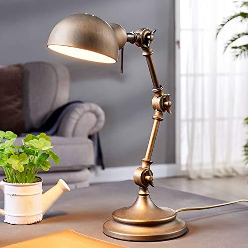 Lindby Tischlampe 'Ellisen' (Retro, Vintage, Antik) in Bronze aus Metall u.a. für Wohnzimmer & Esszimmer (1 flammig, E14, A++) - Tischleuchte, Schreibtischlampe, Nachttischlampe, Wohnzimmerlampe