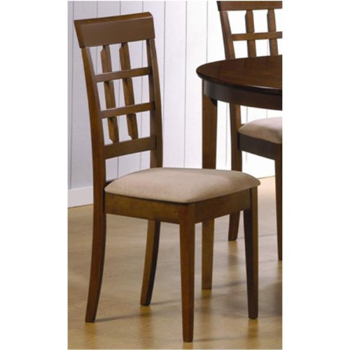 set of 2 lattice back dining chairs in walnut finish wood online