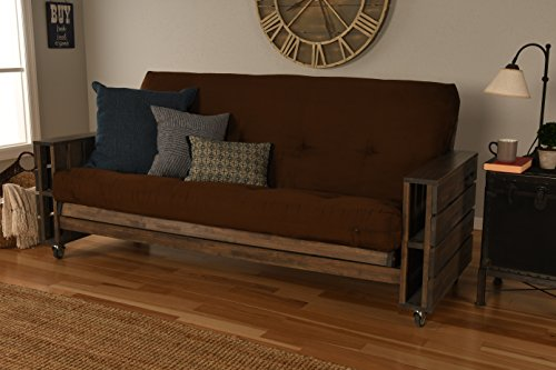 Best Bargain Kodiak Furniture Tacoma Full Size Futon in Rustic Walnut Finish, Suede Chocolate