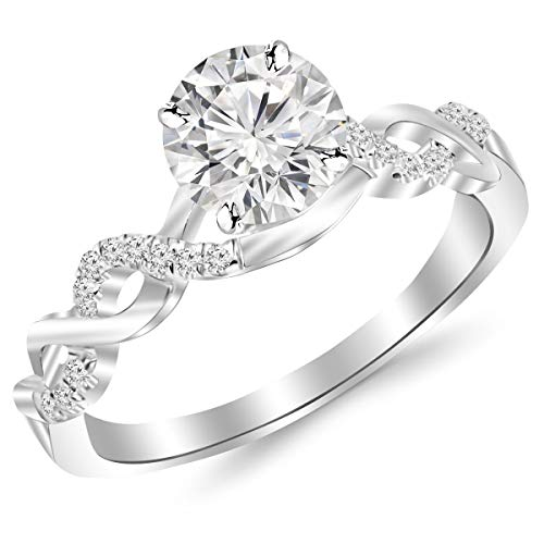 0.63 Carat Round Diamond 14K White Gold Twisting Infinity Ring Ladies Engagement Anniversary Wedding Band 0.5 Carat Solitaire Diamond Split Shank Pave Set Stackable Ring For Women