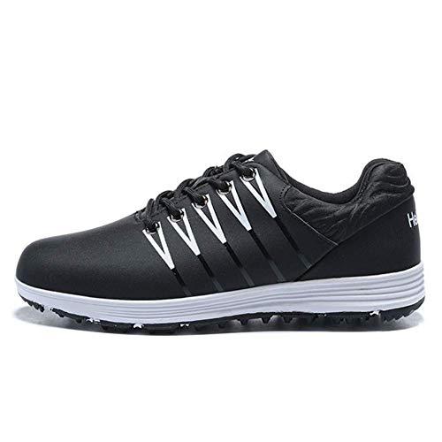 FJJLOVE Zapatos De Golf para Hombres, Cómodos, Ligeros, para Entrenar Golf, Antideslizantes, Impermeables, Sin Púas, Casuales, Zapatillas para Caminar, Botas De Golf De Cuero,Negro,40