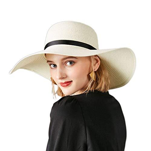 Chowcencen Frauen-Hut Bowknot Cap Stroh großer Rand Sonnenschutz Strand faltbare Band Sommer Accessoires