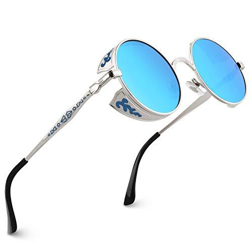CGID Retro Sonnenbrille im Steampunk Stil runde Metallrahmen Polarisiert Brille Herren Damen Silber Rahmen Blaue Gläser Verspiegelt, CAT3, CE, E71
