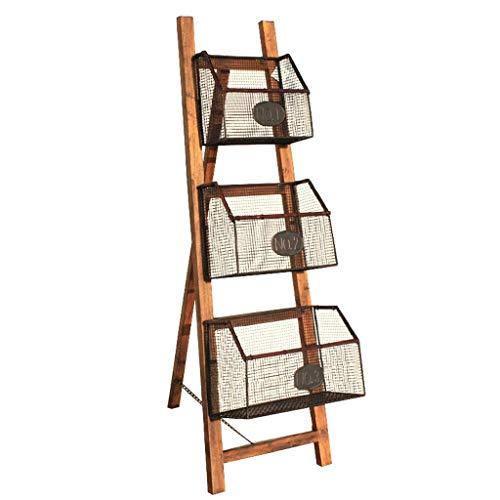 Stijlvolle eenvoud massief hout smeedijzeren boekenplank eenvoudige boekenkast fotolijst rek vloer magazijn rek opvouwbare boekenplank hout kleur grootte: 30X50X117Cm, H-J