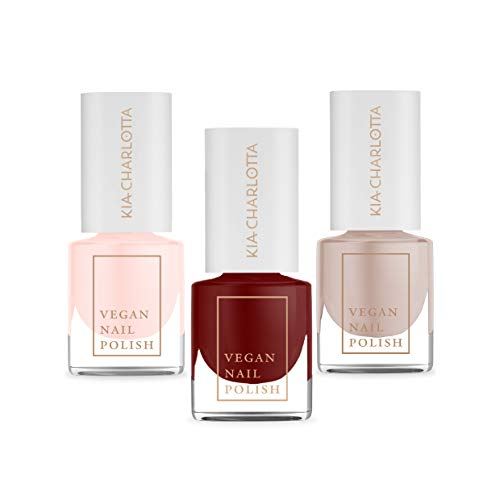 Kia-Charlotta, 100% Veganer Nagellack, Set, 3x Basics Successful, Believe, Intuitive Energy (Kirschrot, Transparentes Pink, Nude), 15 Free, Made in Germany, Premium Qualität, 3x 5ml