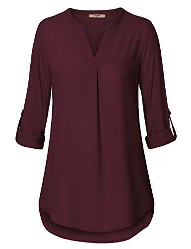 Timeson Women Blouses for Work,Chiffon Shirt for Office Women's Casual Chiffon V Neck Cuffed Sleeve Blouse Tops (Large, Deep Red)