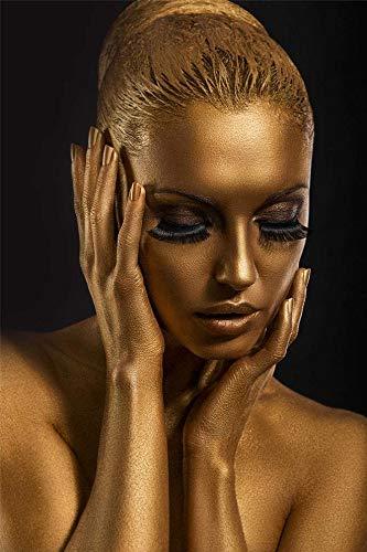 PEÑA VARGAS - Cuadros Impresión Digital - Fotografía Mujer Dorada sobre Cristal Templado (120x80)