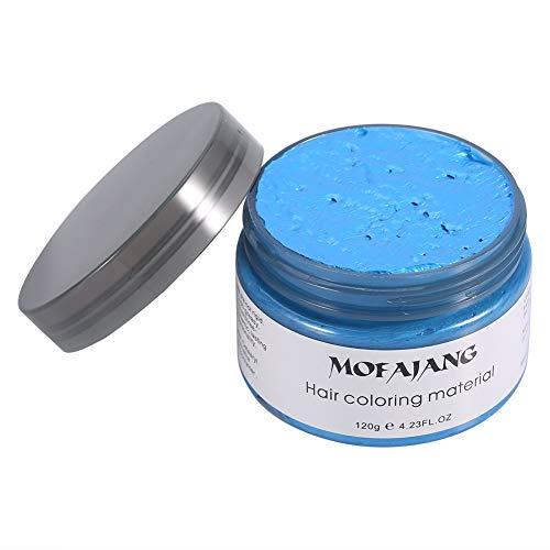 Haarkleuring Wax, 120g DIY Hair Wax Kapsel Styling Modellering Haarkleuring Crème voor mannen Vrouwen Datum Feest Cosplay Halloween(Blauw)
