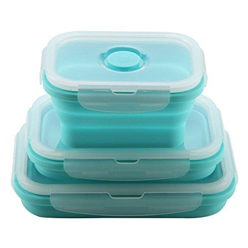 Zusammenklappbare Lebensmittel-Lagerbehälter aus Silikon, 3er-Pack wiederverwendbare BPA-Faltschachtel für Mittagessen, gefrier- und ofensicher blau