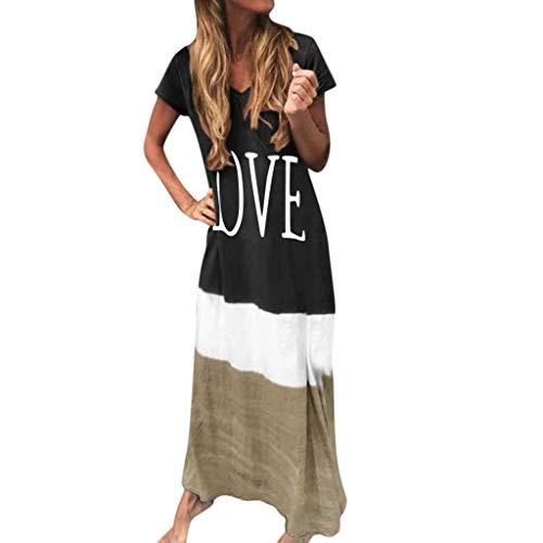 DAY8 Robe Longue Femme Été Pas Cher Robe de Soirée Femme Chic Longue Sexy Maxi Robe de Cocktail Femme Grande Taille Imprimé Robe de Plage Femme Décontracté Manche Courte Vacances (Noir, XXL)
