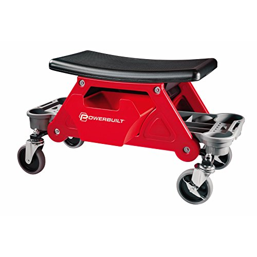 Powerbuilt Heavy Duty Rolling Mechanics Seat and Brake Stool with 4-in. Rubber Swivel Casters Roll Over Anything, Big Seating Platform, Slide Out Tool Trays and Drawer 300 lb. Capacity – 240036