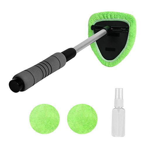 X XINDELL Windshield Cleaner -Microfiber Car Window Cleaning Tool with Extendable Handle and Washable Reusable Cloth Pad Head Auto Interior Exterior Glass Wiper Car Glass Cleaner Kit (Extendable)